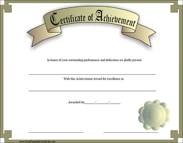 38 best certificate of achievement templates sample for Certificate of accomplishment template