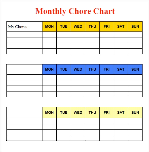 10 sample chore chart templates sample templates. Black Bedroom Furniture Sets. Home Design Ideas