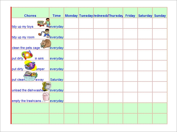 chore chart template with pictures1