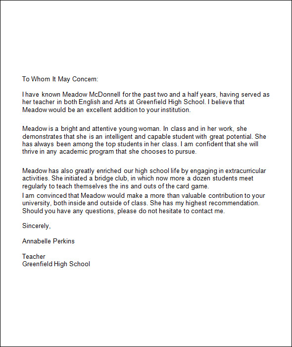 college recommendation letter for high school student - Cover Letter For High School