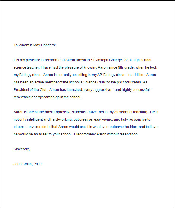 5 college recommendation letters sample templates for Recommendation letter for student from teacher template