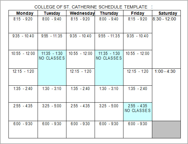 Sample College Schedule   Documents In Word Excel Pdf