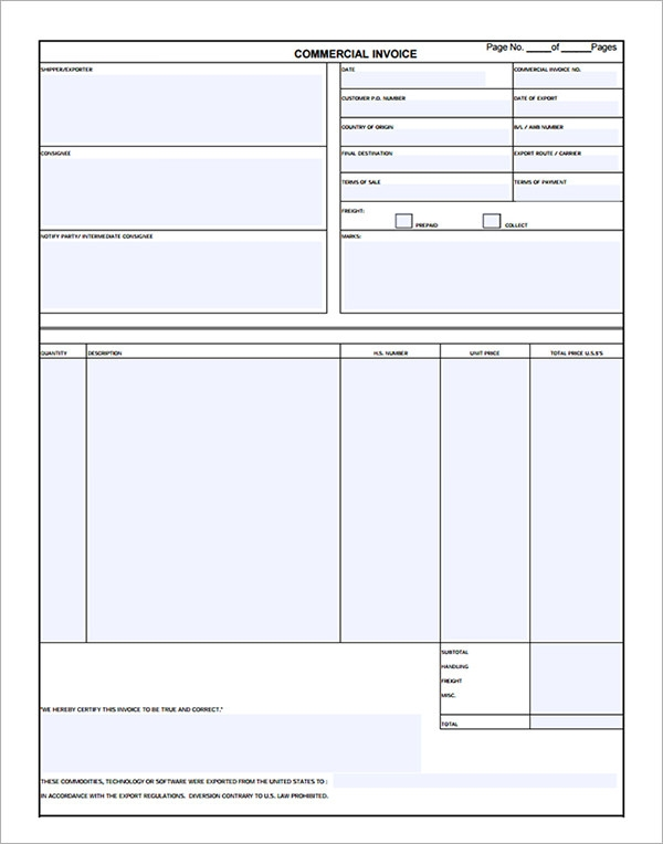 11 Commercial Invoice Templates Download Free Documents in Word – Commercial Invoice Forms