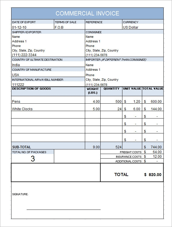10  commercial invoice templates