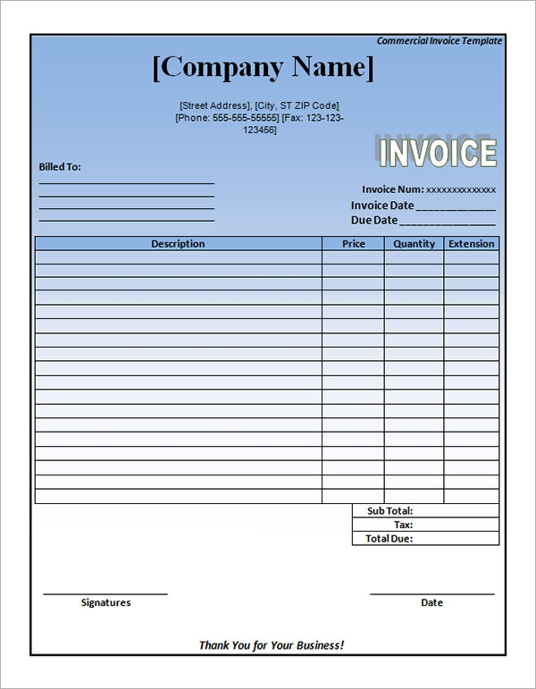 commercial invoice template word1