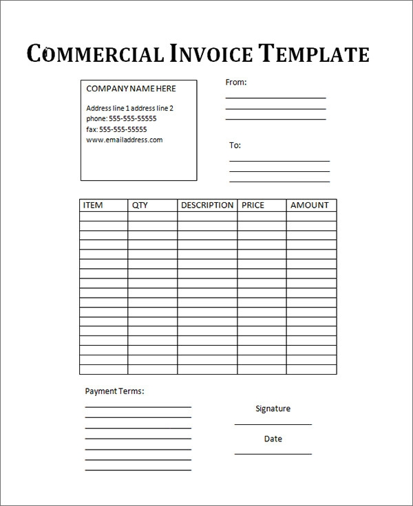 Elegant Commercial Invoice Template Fee Download For Printable Commercial Invoice