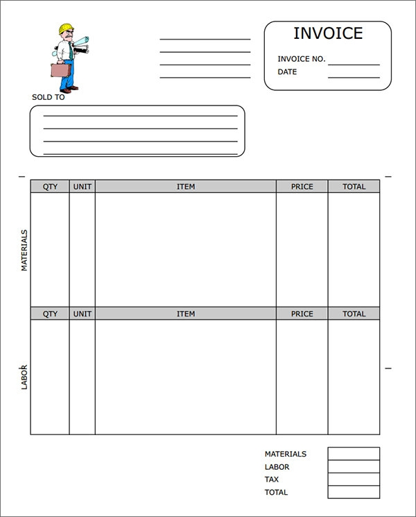 It's just a photo of Trust Free Printable Construction Invoice Template