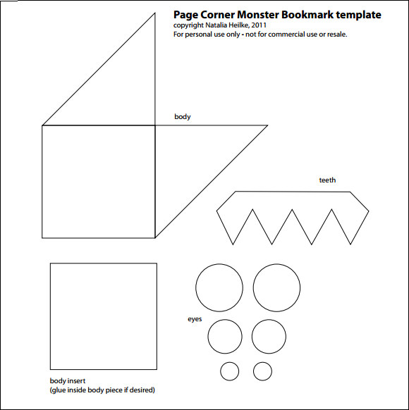 Corner Bookmark Template Printable images