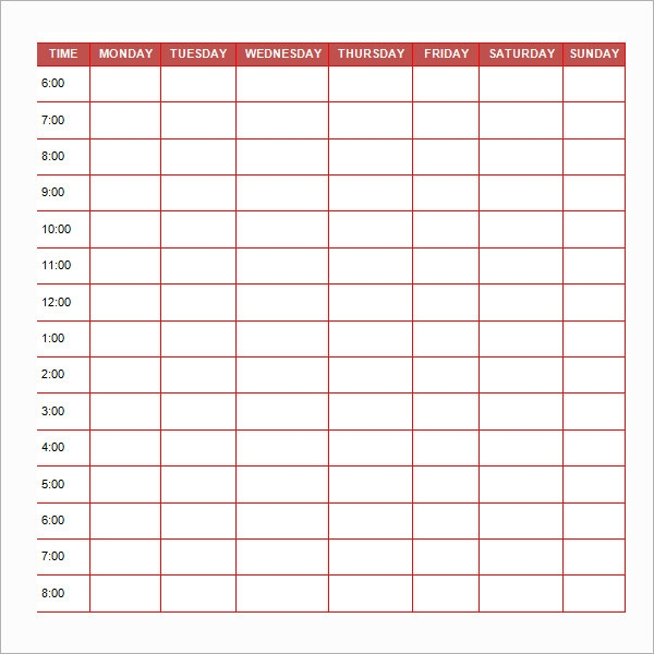 Daily Routine Schedule Template Printable Editable Blank – 5 Day Schedule Template