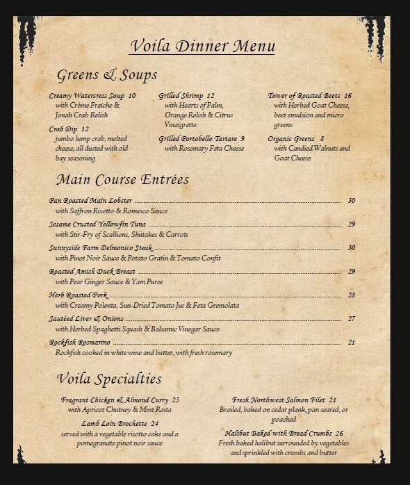 Dinner Menu Card Template  Hlwhy