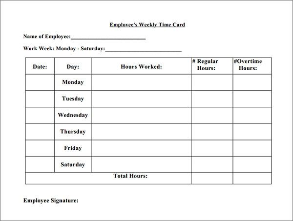time cards for employees