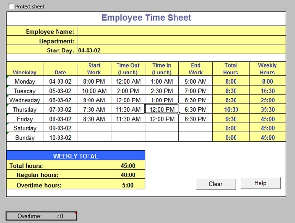 printable employee time card template .