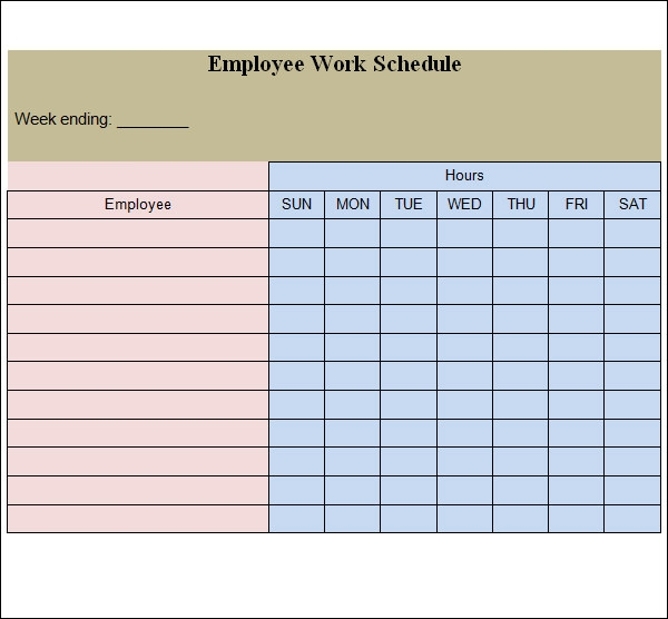 employee work schedule template