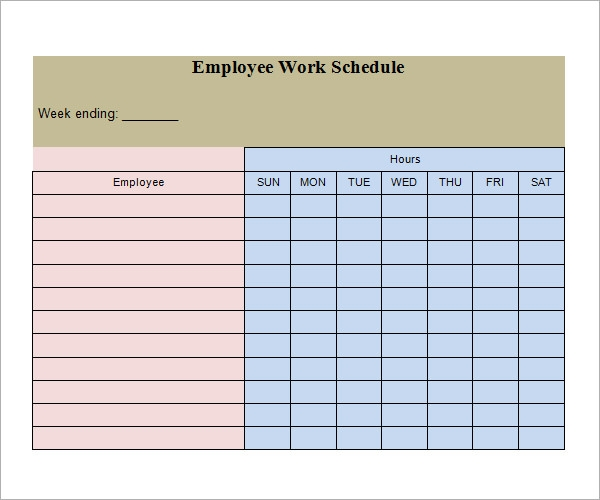 Sample Work Schedule Format  NinjaTurtletechrepairsCo