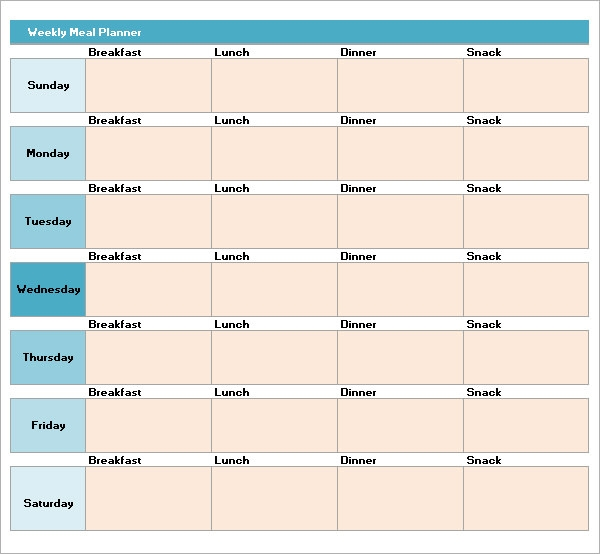 Sample Meal Planning Template  Download Free Documents In Pdf