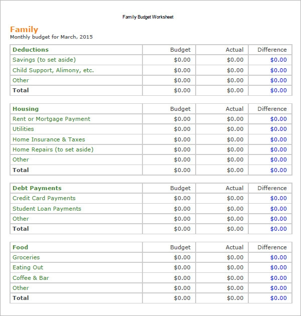 Sample Family Budget   Documents In  Excel Word
