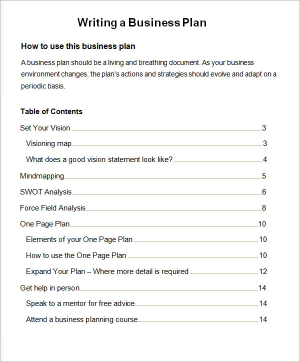 Free sample business plan template flashek