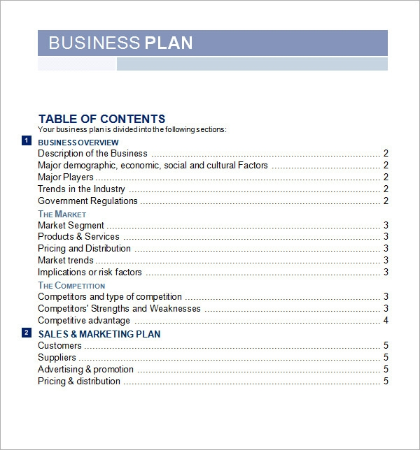 Template for business plan