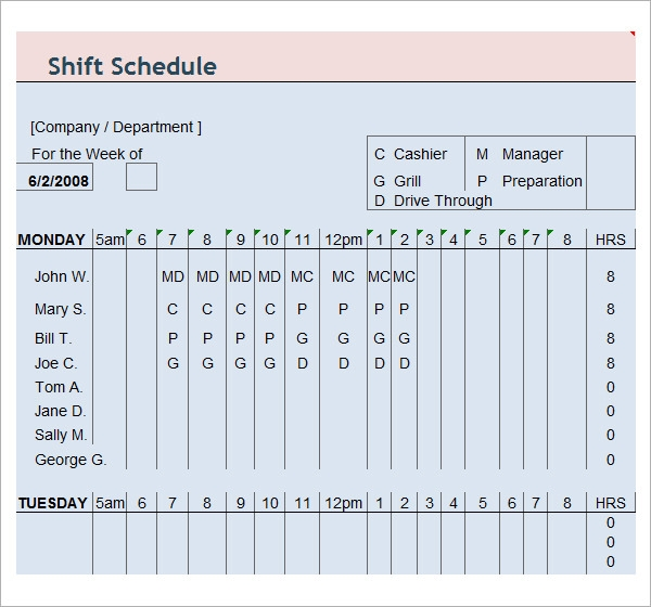 employee work schedule template .
