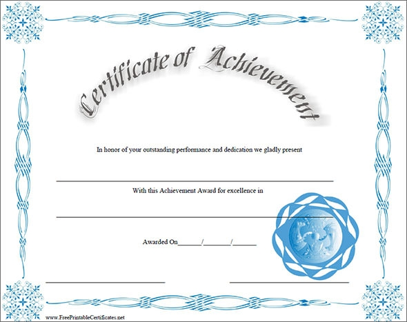 free printable achievement certificates - Free Printable Certificate Of Achievement Template