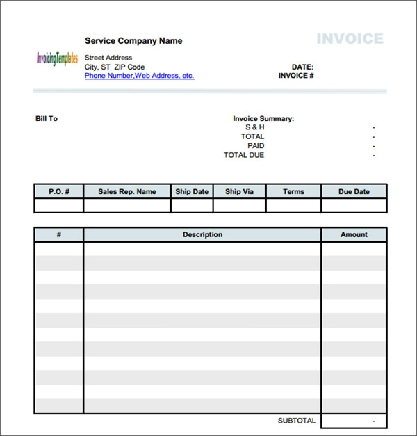 generic invoice template excel 28 images 5 generic