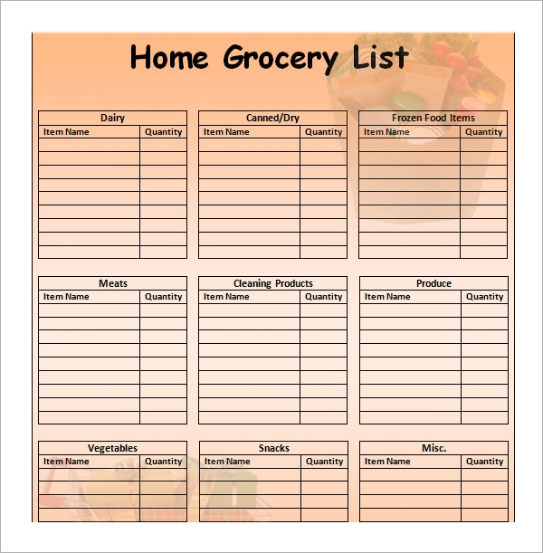 Grocery List Template For Mac1  Free Printable Grocery Shopping List Template