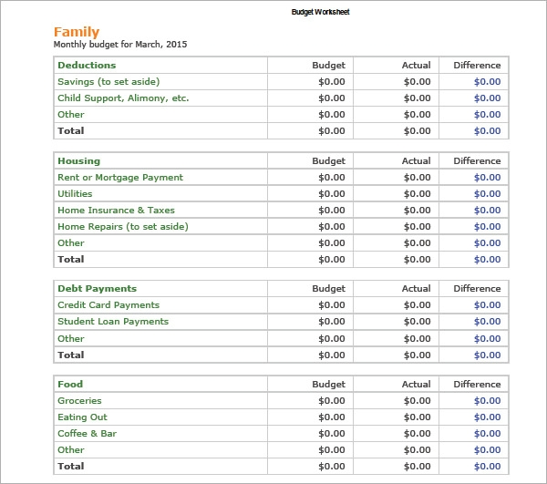 Sample Home Budget   Documents In Pdf Excel