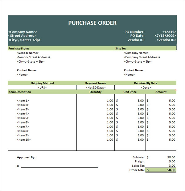 Purchase Order Template 10 Download Free Documents in PDF