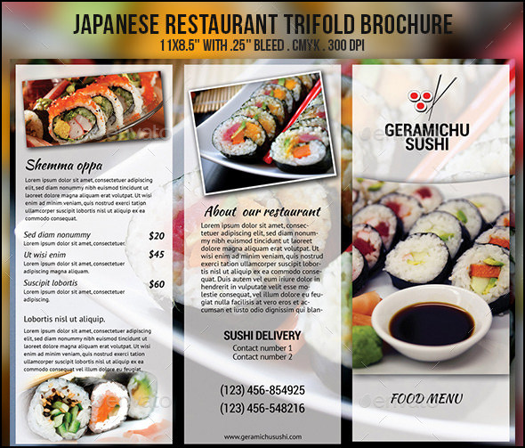 japanese restaurent menu