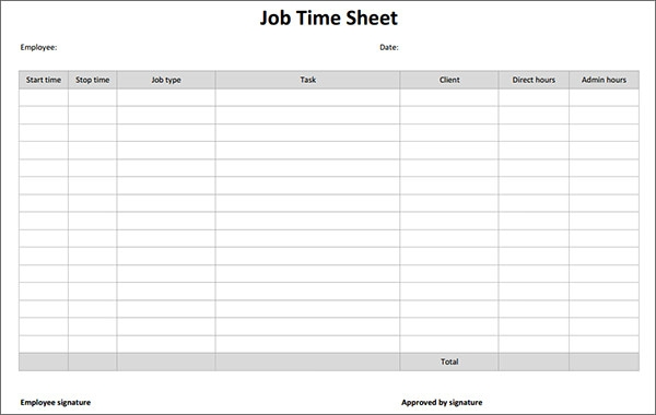 job sheet template – Job Task Template