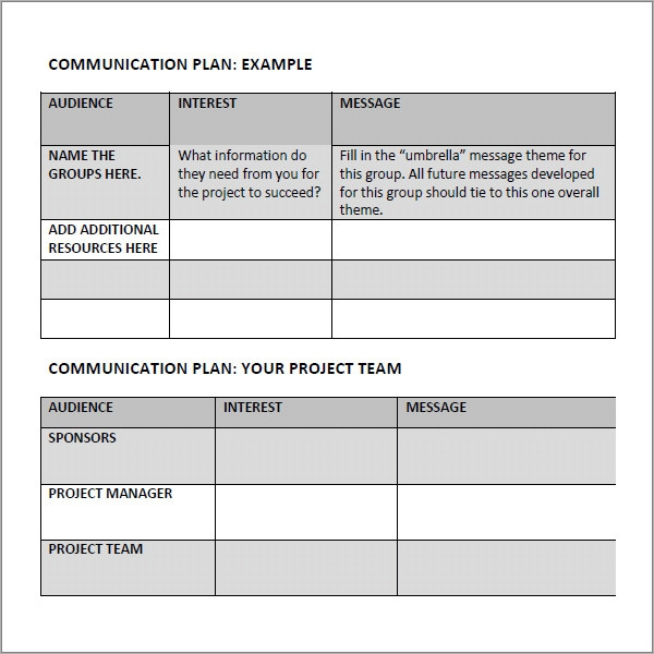 marketing communications plan template pdf - 11 samples of communication plan templates sample templates