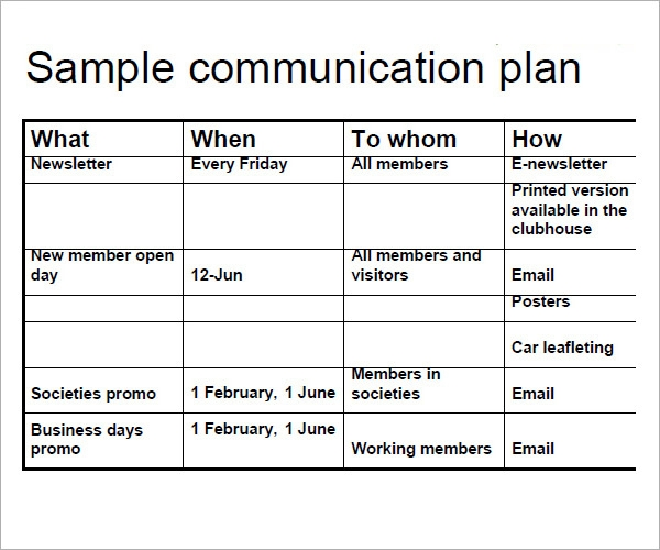 11 samples of communication plan templates sample templates for Change communication plan template