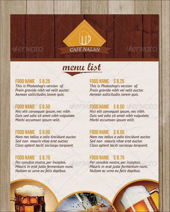 Sample Cafe Menu Template Mouthwatering Restaurant Menu Designs