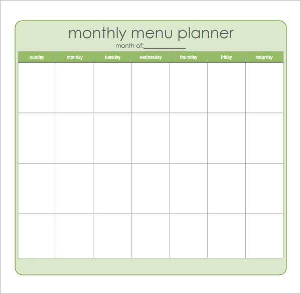 Printable Monthly Menu Calendar  NinjaTurtletechrepairsCo