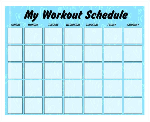 my work out schedule the weekly workout schedule template