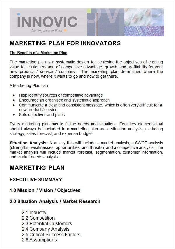 9  marketing plan templates