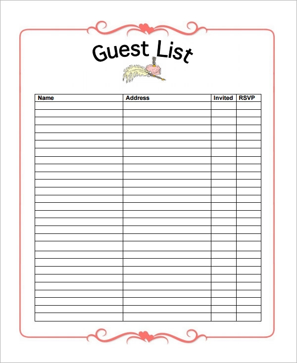 Delightful Free Wedding Guest List Template Inside Free Printable Wedding Guest List