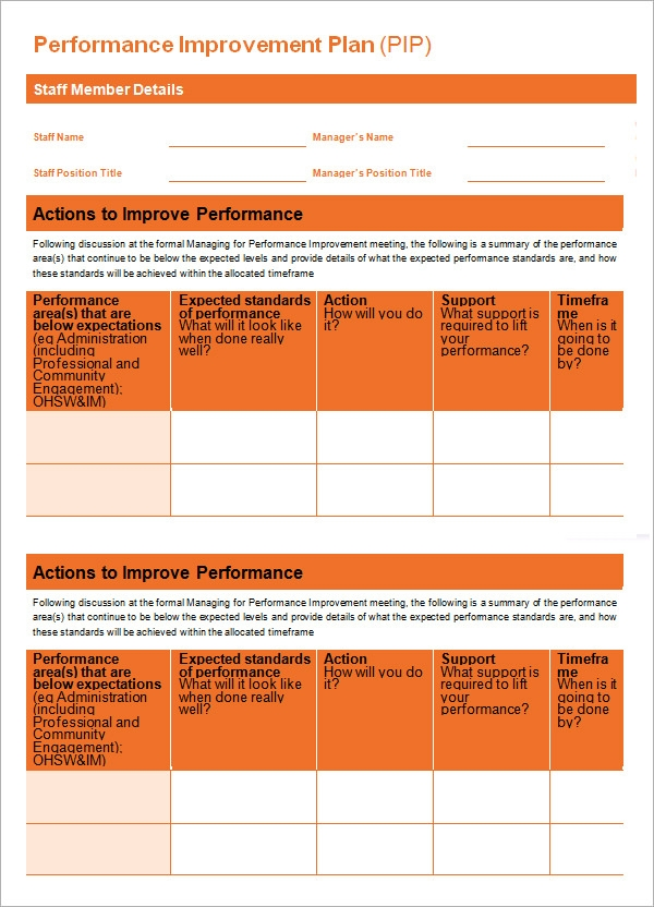 Performance Improvement Plan Template 9 Download Documents in – Performance Improvement Plan Format