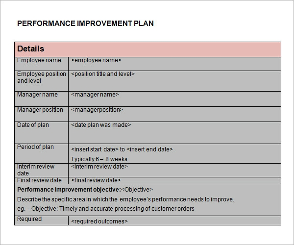 Performance improvement plan template 9 download for Performance management action plan template