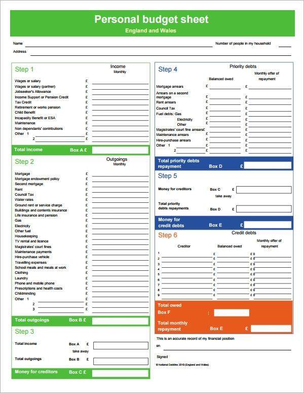 Printables Personal Budget Worksheet Pdf personal budget sample 10 documents in pdf word excel template pdf