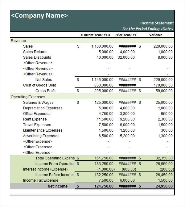Sample Income Statement Template 9 Free Documents in PDF Word – Quarterly Profit and Loss Statement Template