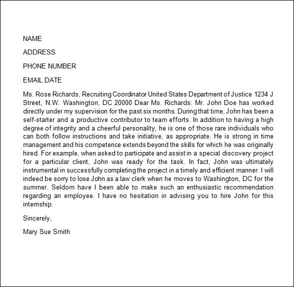 personal reference letter template free .