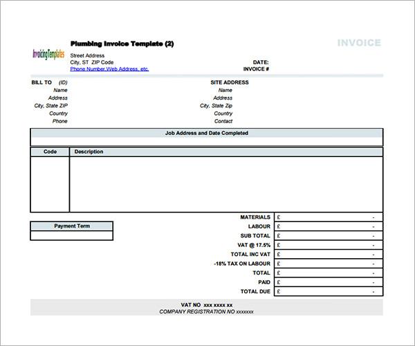 sample contractor invoice