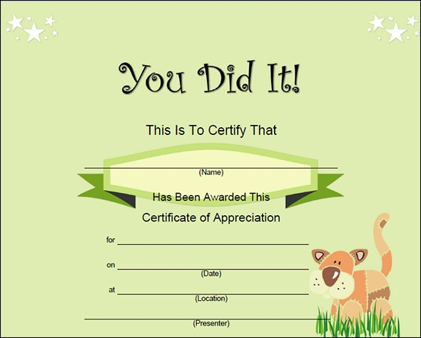 Free printable certificate templates car interior design for Kid certificate templates free printable