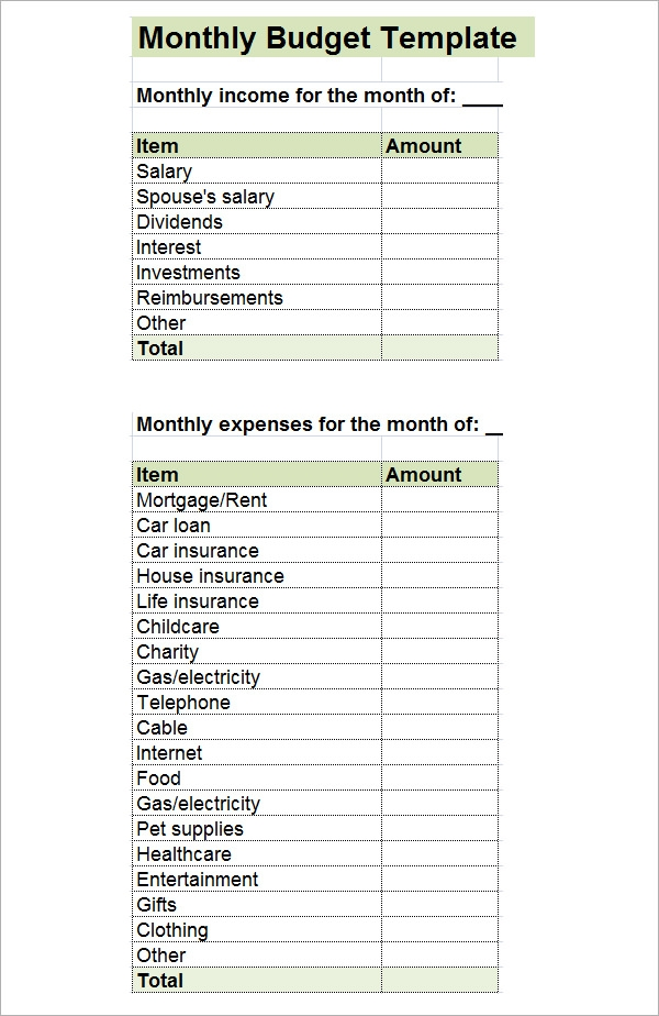 Monthly Budget Template - 10+ Download Free Documents in PDF, Excel ...