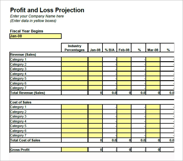 profit and loss account template