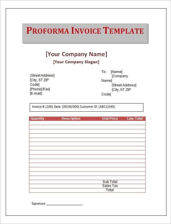 free sample of proforma invoice download