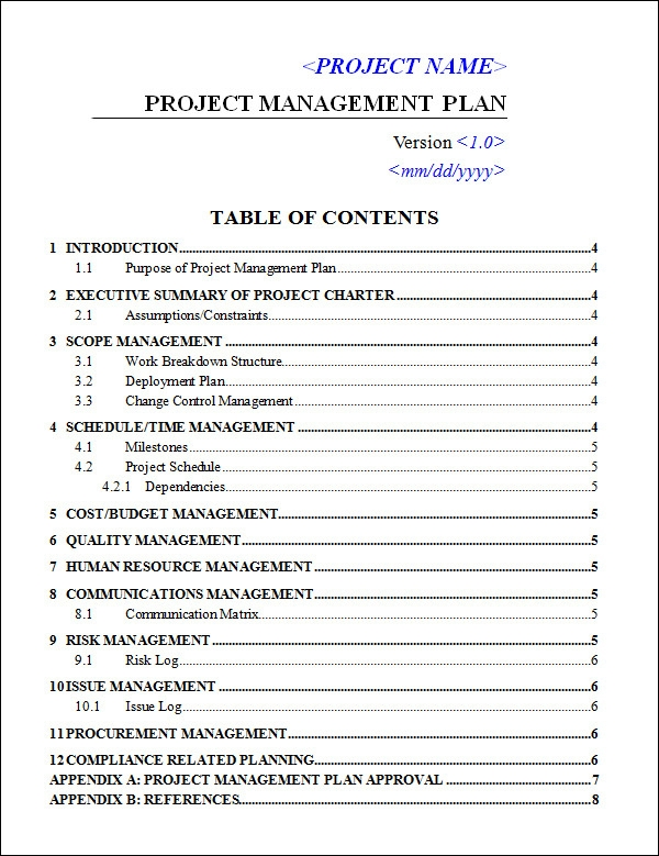Project Management Plan Template  FreerunCom