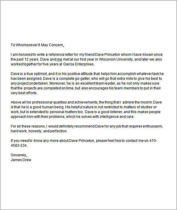 reference letter template for friend .