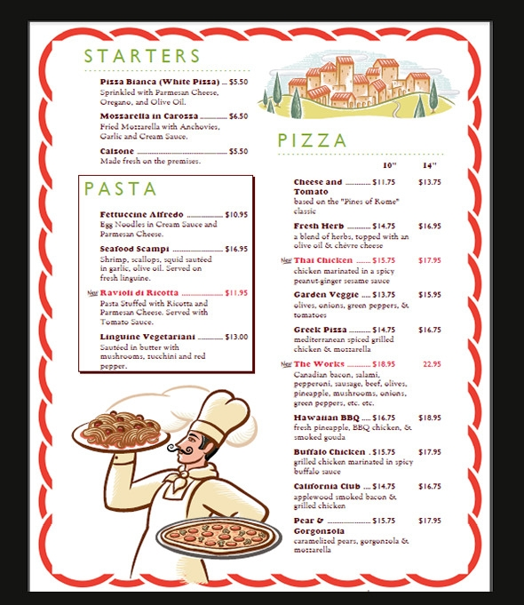 sample restaurant menu templates